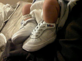 Can you see 'Milan' on the shoe?