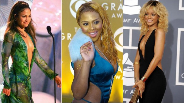 JENNIFER LOPEZ (L) IN HER FAMOUSLY REVEALING VERSACE DRESS; LIL KIM (C) BARES HER FLESH ON THE GRAMMYS RED CARPET AND RIHANNA (R) OPTS FOR A PLUNGING NECKLINE.