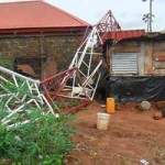 Family Of 3 Narrowly Escape Death As Mast Falls On Building While Sleeping