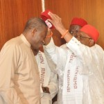 PRESIDENT GOODLUCK JONATHAN (L), BEING DECORATED WITH ANIOMA REGALIA BY ASAGBA OF ASABA, PROF. CHIKE EDOZIE, DURING THE VISIT OF ANIOMA TRADITIONAL RULERS AND ELDERS TO THE PRESIDENTIAL VILLA IN ABUJA (NAN)