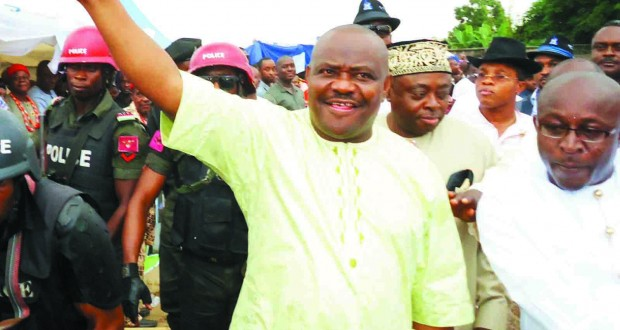 NYESOME WIKE AND SOME CHIEFTAINS OF THE PDP AT ONE OF THE RALLIES OF THE GDI IN PORT HARCOURT LAST MONTH