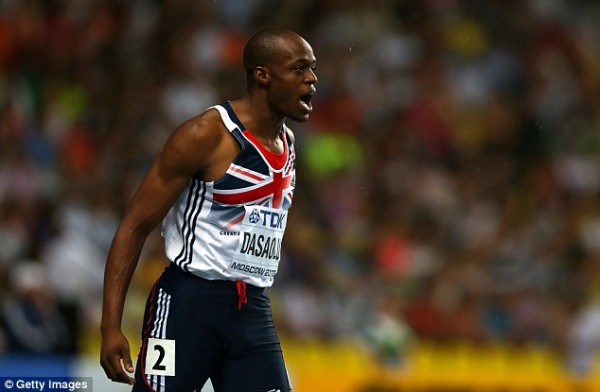 James Dasaolu Before the 100m Final in Moscow.