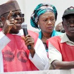 SENATE PRESIDENT DAVID MARK (L), ADDRESSING NIGERIA LABOUR CONGRESS AND THE TRADE UNION CONGRESS DURING THEIR PROTEST  OVER THE REMOVAL OF MINIMUM WAGE FROM EXCLUSIVE LEGISLATIVE LIST AT THE NATIONAL ASSEMBLY IN ABUJA ON WEDNESDAY (18/9/13). WITH HIM ARE GOV. ADAM OSHIOMHOLE OF EDO (R) AND SEN. OLUREMI TINUBU