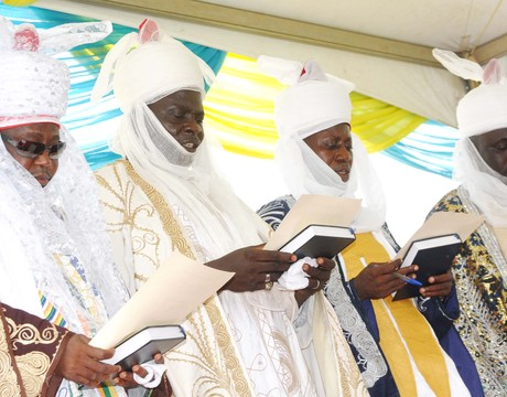 TRADITIONAL RULERS IN THE FEDERAL CAPITAL TERRITORY FROM LEFT: THE AGORA OF ZUBA, ALHAJI BELLO UMAR; ETSU OF YABA, ALHAJI ABDULLAHI ADAMU; AGABE OF UGBADA, AHAJI HUSSAINI MAM AND ETSU OF BWARI, ALHAJI IBRAHIM YARO, TAKING THEIR OATH OF OFFICE AT THE INSTALLATION AND PRESENTATION OF STAFF OF OFFICE IN ABUJA ON FRIDAY (NAN)