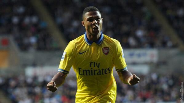 Serge Gnabry Celebrates His Goal Against Swansea in the Premier League.