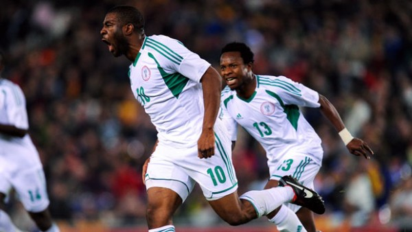 Bright Dike Celebrated Scoring for Nigeria.