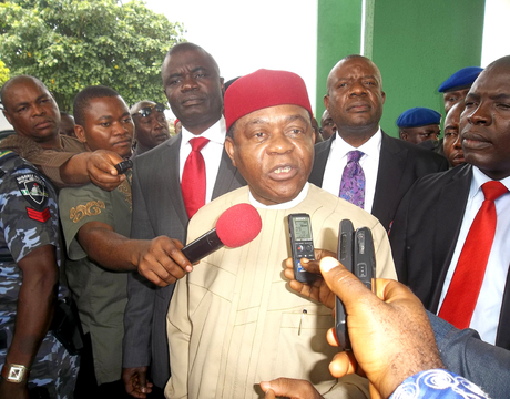 GOV. THEODORE ORJI OF ABIA, ANSWERING QUESTIONS FROM JOURNALISTS SHORTLY AFTER HE PRESENTED THE STATE 2014 BUDGET OF N149.6 BILLION TO THE STATE ASSEMBLY IN UMUAHIA ON MONDAY (30/12/2013)