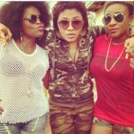 [PHOTOS] Funke Akindele and Ini Edo Rock Out in Shorts on a Movie Set