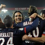 PSG Players Celebrates After Scoring Against Lyon.