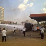 PHOTOS: How Fire Fighters Put Out Conoil Fuel Station Blaze in Abuja