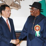 PRESIDENT GOODLUCK JONATHAN (R) WITH THE OUT-GOING AMBASSADOR OF CHINA, MR DENG BOQING AT THE PRESIDENTIAL VILLA  IN ABUJA ON MONDAY (6/1/14).