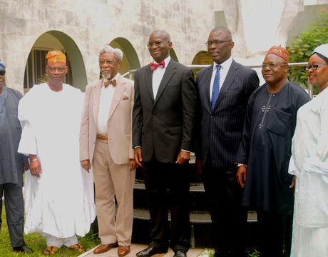 LEFT:   LAGOS REPRESENTATIVES AT THE NATIONAL CONFAB;  PROF. TUNDE SAMUEL;  PRINCE RABIU OLUWA;  CHAIRMAN,  ALHAJI  FEMI OKUNNU;   GOV. BABATUNDE FASHOLA OF LAGOS;  MR SUPO SASORE (SAN), MR WAHEED AYENI AND MRS OLUFUNMI OSHINOWO-BASHORUN,  DURING THEIR MEETING WITH GOV.  FASHOLA  IN LAGOS ON MONDAY  (24/2/14).