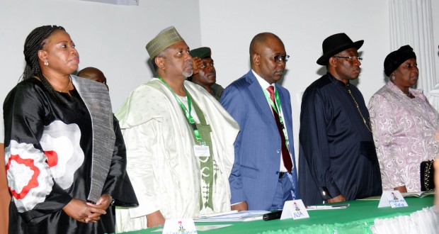 PRESIDENT GOODLUCK JONATHAN (SECOND RIGHT), MRS BENSAODA (LEFT); COL DASUKI (SECOND LEFT); MINISTER OF JUSTICE MOHAMMED ADOKE (SAN); AND CHIEF JUSTICE OF NIGERIA, JUSTICE ALOMA MUKTHAR (RIGHT) AT THE SEMINAR IN ABUJA...YESTERDAY.