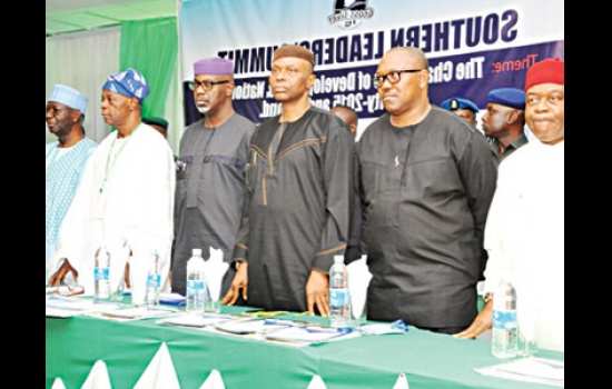 GOVERNORS THEODORE ORJI (RIGHT), PETER OBI, OLUSEGUN MIMIKO, LIYEL IMOKE, OLU FALAE AND TONY ANENIH, DURING THE SOUTHERN LEADERS' SUMMIT IN CALABAR, CROSS RIVER…