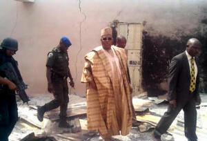 Borno State Governor, Kashim Shettima Inspecting the ruins of the attack on Kawuri