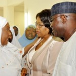 CO-CHAIR, INTER FAITH ABUJA-DIALOGUE, HAJIYA MARYAM DADA-IBRAHIM; CHAIRMAN, SENATE COMMITTEE ON WOMEN AFFAIRS, SEN. HELEN ESUENE AND SENATE PRESIDENT DAVID MARK, DURING THE VISIT OF FEDERATION OF MUSLIM WOMEN'S ASSOCIATIONS IN NIGERIA (FOMWAN) TO THE SENATE PRESIDENT IN ABUJA ON TUESDAY (25/3/14).