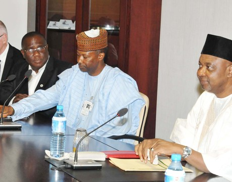FROM LEFT: MANAGING DIRECTOR, TRANSMISSION COMPANY OF NIGERIA (TCN), MR MACK KAST; TCN DEPUTY CHAIRMAN, MR SOLA AKINFEMIWA; CHAIRMAN, MR IBRAHIM WAZIRI AND VICE-PRESIDENT NAMADI SAMBO AT A  MEETING AT THE PRESIDENTIAL VILLA IN ABUJA ON FRIDAY (28/3/14).