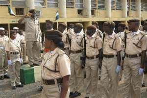 Immigration officers on parade