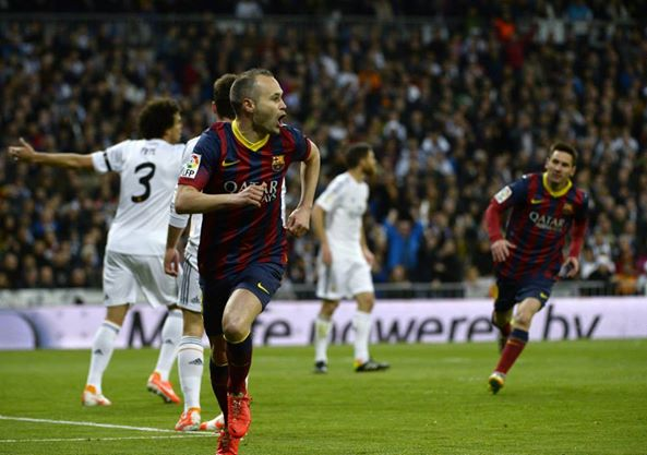 Andres Iniesta Celebrates His El Clasico Opener at the Bernabeu.