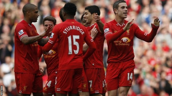 Liverpool Players Celebrates Goal Against Tottenham Hotspur at Anfield.