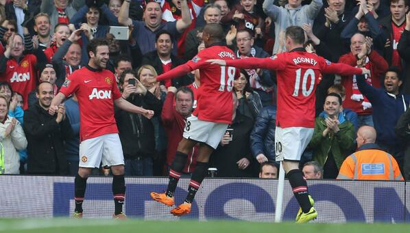 Mata Celebrates With Young and Rooney On Opening His United Goalscoring Account.