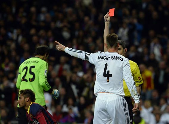 Sergio Ramos Sent Off For a Career 19th Time in Sunday's Explosive El Clasico. Getty Image.