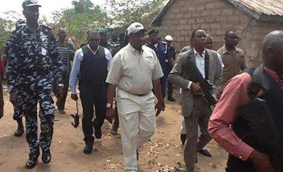 GOV. GABRIEL SUSWAM ON TUESDAY INSPECTING VILLAGES RAZED BY FULANI HERDSMEN