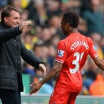 Raheem Sterling Celebrates With Manager Brendan Rodgers After Scoring at Carrow Road.