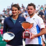 Roger Federe and Stanislas Wawrinka Pose for a Photograph After Their Sunday Morning Monte Carlo Final