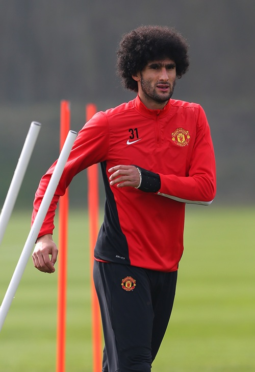 Marouaine Fellaini in Training Ahead of Champions League Quarter