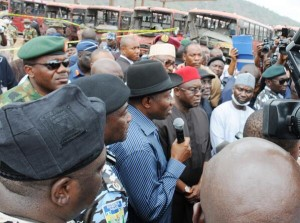 PRESIDENT JONATHAN ADDRESSING THE MEDIA AT THE NYANYA BOMB EXPLOSION SCENE, MONDAY