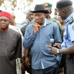 PRESIDENT JONATHAN & SENATE PRESIDENT DAVID MARK AT THE NYANYA BOMB BLAST SCENE, MONDAY