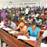 CANDIDATES WRITING THE UNIFIED TERTIARY MATRICULATION EXAMINATION IN ABUJA  ON SATURDAY (12/4/14).
