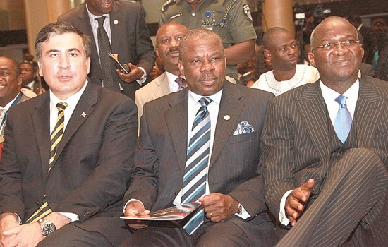 BABATUNDE FASHOLA (R) AND IBIKUNLE AMOSUN (L) AT THE 7TH LAGOS ECONOMIC SUMMIT ON TUESDAY