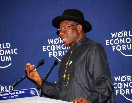 PRESIDENT GOODLUCK JONATHAN DECLARING OPEN THE 2014 WORLD ECONOMIC FORUM ON AFRICA IN ABUJA ON THURSDAY (8/5/14).