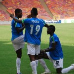 Kingsleyb Sokari Celebrates With Abdulrahama Bashir During a Pre-Season Match in Abuja.