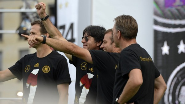 Coach Joachim Low and His Technical Crew On Open-Top Bus. Image: AFP.