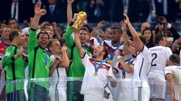 Mario Gotze Lifts the World Cup Trophy at the Maracana. Image: Fifa via Getty Image.