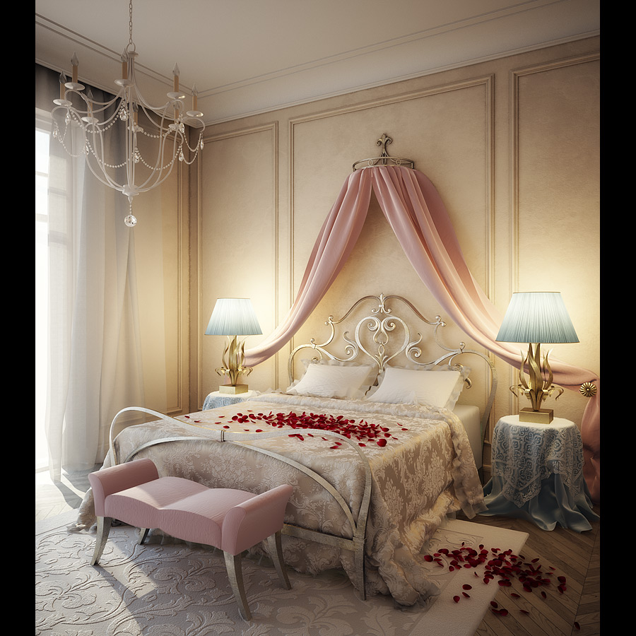 to make your bedroom romantic put on the drapes that match your bed