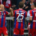 Arjen Robben Celebrates Scoring Bayern Second Goal at the Allianz Arena.
