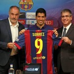 Suarez's Official Presentation as Barca Player. Image: Twitter@FCBarcelona.