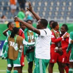 Peter Dedevbo Celebrates With the Super falconets After Victory Over England. Image: Getty Image.
