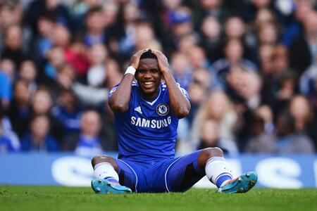 Samuel Eto'O Rues a Missed Chance During a Premier League Game Last Season.