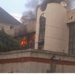Photos: Fire outbreak at NFF office in Abuja…