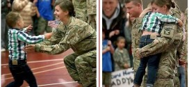 See adorable moment 3 yr old interrupts homecoming procession to hug his mother after her 9month tour of Afghanistan