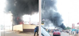 Photos: Seventh Day Adventist building on fire in Lagos