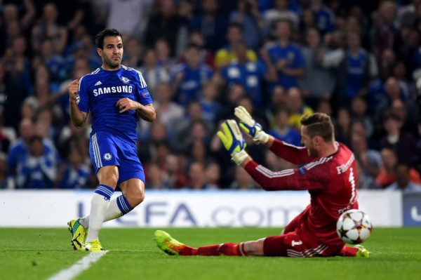 Cesc Fabregas Scores His First Competitive Goal for Chelsea Against Schalke. Image: Getty.
