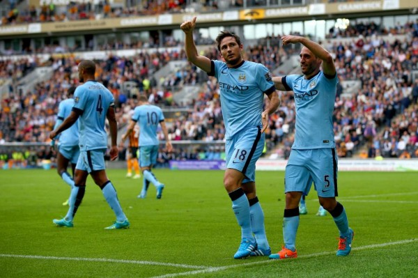 Frank Lampard Celebrates His Fourth Manchester City Goal in Seven Days. Image: Getty.