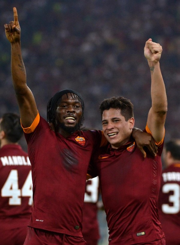 Gervinho and Iturbe Pictured After Scoring for Roma.