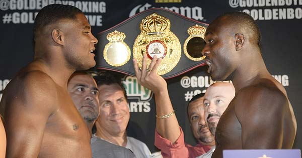 Luis Ortiz and Kayode Power at the Weight. Image:  Gene Blevins/Hogan Photos/ Golden Boy.